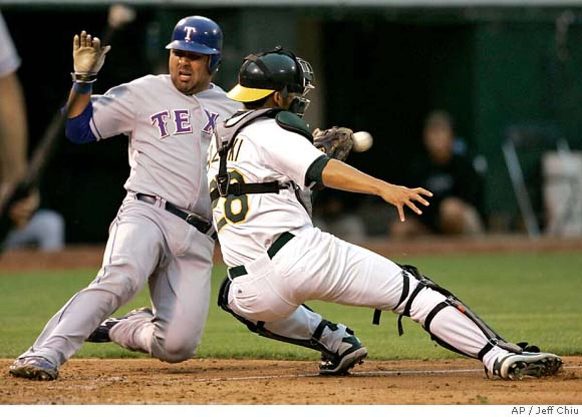 Texas Rangers' Gerald Laird, left, scores past Oakland Athletics' Kurt Suzuki on Jerry Hairston Jr.'s two-run double in the fourth inning of a baseball game on Monday, July 16, 2007, in Oakland, Calif. (AP Photo/Jeff Chiu)