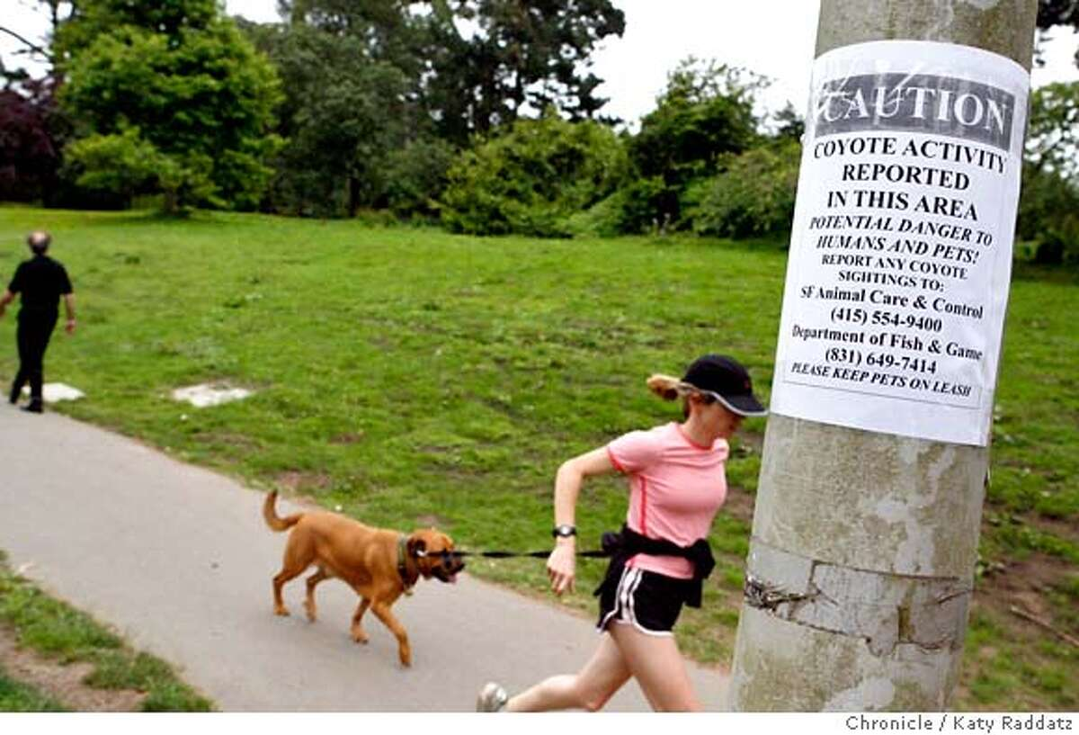 {filename SHOWN: A young woman and her dog run past a coyote warning sign on JFK Drive in Golden Gate Park. Reports of a coyote attacking a dog in Golden Gate Park, San Francisco, CA. (Katy Raddatz/The Chronicle) ** Mandatory credit for the photographer and the San Francisco Chronicle. No sales; mags out.
