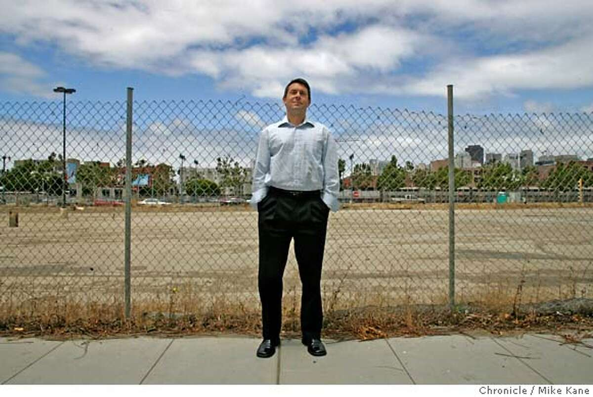 SOCKETSITE15_010_MBK.JPG SocketSite.com editor in chief Adam Koval stands amid new construction in the burgeoning neighborhood of Mission Bay in San Francisco, CA, on Wednesday, July, 11, 2007. photo taken: 7/11/07 Mike Kane / The Chronicle **Adam Ravetch MANDATORY CREDIT FOR PHOTOG AND SF CHRONICLE/NO SALES-MAGS OUT