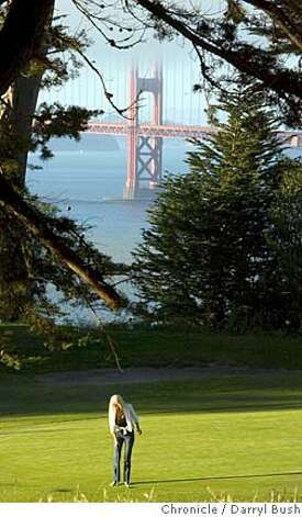 feature_0002_db.JPG  Karen Stratford of San Francisco, lines up a putt on the 17th green of Lincoln Park Golf Course with the Golden Gate Bridge in the background in San Francisco, CA, on Thursday, June, 28, 2007. photo taken: 6/28/07  Darryl Bush / The Chronicle ** (cq) Ran on: 06-29-2007  Karen Stratford of San Francisco lines up a putt on the scenic 17th green of Lincoln Park Golf Course. MANDATORY CREDIT FOR PHOTOG AND SF CHRONICLE/NO SALES-MAGS OUT Photo: Darryl Bush