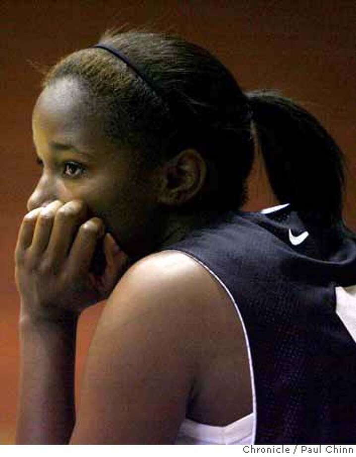 Incoming Cal Bears freshman basketball player Lenita Sanford rests on the bench during a game in the women's SF Bay Area Pro-Am league at Kezar Pavilion in San Francisco, Calif. on Saturday, July 14, 2007.  PAUL CHINN/The Chronicle  **Lenita Sanford MANDATORY CREDIT FOR PHOTOGRAPHER AND S.F. CHRONICLE/NO SALES - MAGS OUT Photo: PAUL CHINN