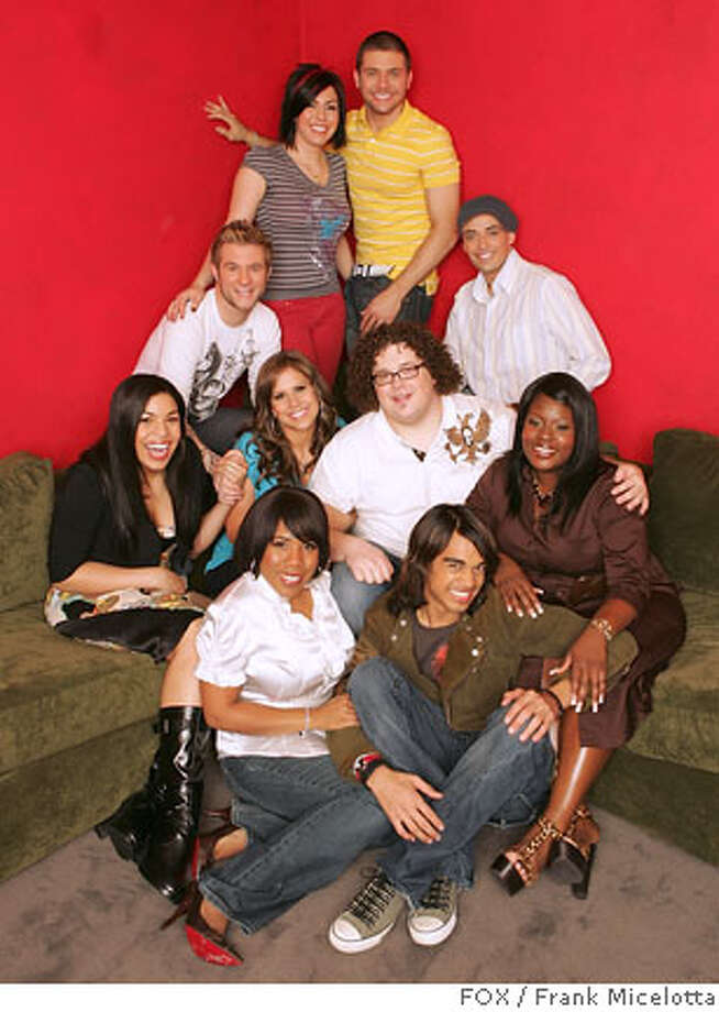 AMERICAN IDOL: The Final 10: Bottom row L-R: Melinda Doolittle and Sanjaya Malakar. Middle row L-R: Jordin Sparks, Haley Scarnato, Chris Sligh and LaKisha Jones. Top row L-R: Blake Lewis, Gina Glocksen, Chris Richardson and Phil Stacey. CR: Frank Micelotta / FOX.  Ran on: 07-15-2007  The final 10 from &quo;American Idol's&quo; sixth season. Bottom row, from left: Melinda Doolittle, Sanjaya Malakar. Middle row: Jordin Sparks, Haley Scarnato, Chris Sligh, LaKisha Jones. Top row: Blake Lewis, Gina Glocksen, Chris Richardson, Phil Stacey. Photo: FOX / Frank Micelotta