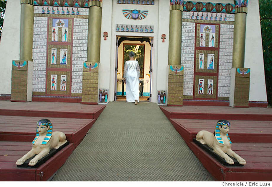 isisoasis15_875.JPG  Joyannah Lonnes, Wiccan High Priestess and guest volunteer at Oasis enters The Temple at Isis Oasis Sanctuary in Geyserville is a place to meditate at the retreat, home to wild birds and African cats including Ocelots is owned and run by Loreon Vigne. Photographer:  Eric Luse / The Chronicle names (cq) from source  Loreon Vigne  Goddess  Joyannah Lonnes Photo: Eric Luse