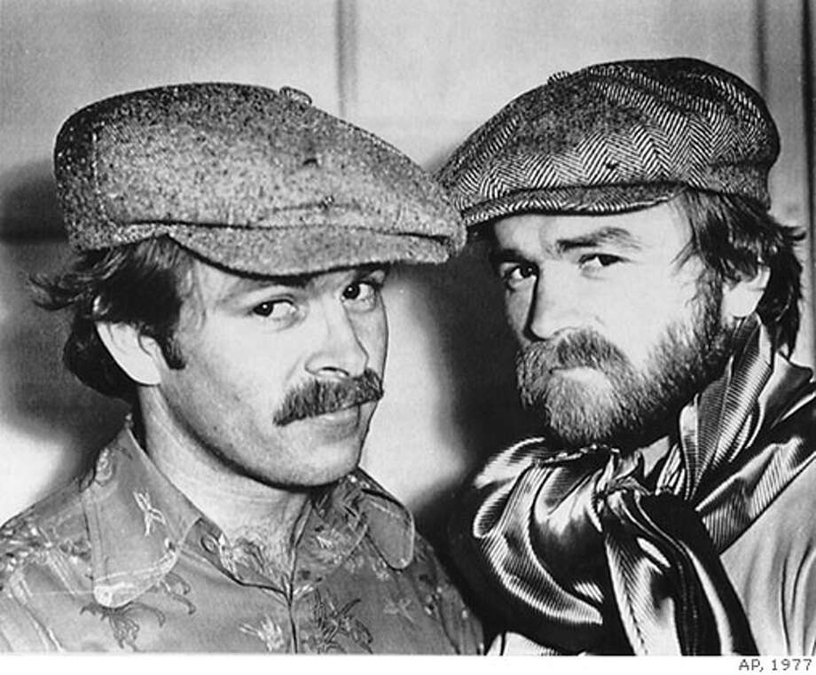 Pornography king Artie Mitchell, right, is shown with his brother Jim in a 1977 file photo. Photo: AP