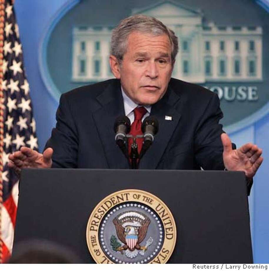 U.S. President George W. Bush holds his first official news conference in the remodeled James S. Brady Press Briefing Room at the White House in Washington, July 12, 2007. REUTERS/Larry Downing (UNITED STATES) 0 Photo: LARRY DOWNING