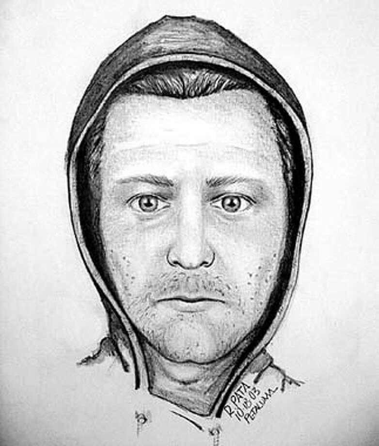 This is an undated police sketch of a suspected Prowler who has entered homes in Petaluma Calif., and hovered near women and girls as they slept. The most recent break-in came early Saturday morning, Oct. 18, 2003. There have been more than a half-dozen similar incidents in recent months, police say. (AP Photo/Petaluma Police Department, Ho)