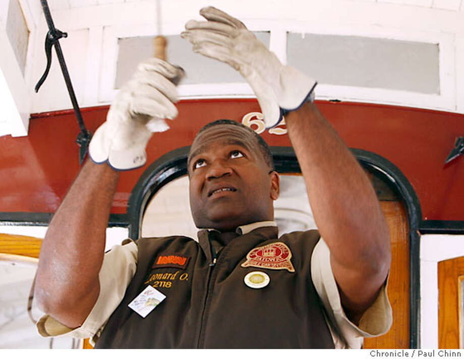 Leonard Oats pulls the clapper during his championship performance in the 45th annual cable car bell-ringing competition at Union Square in San Francisco, Calif. on Thursday July 12, 2007. It is Oats' first championship title.  PAUL CHINN/The Chronicle  **Leonard Oats Photo: PAUL CHINN