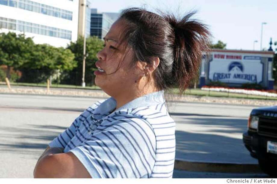 DROWNING_0001_KW.JPG  On July 12, 2007 Liziel Pena (Pena) CQ) anxiously waits to pick-up her daughter and friends at the drop-off lot at Paramount's Great America where a four-year-old boy drown in the wave pool around 2:30 this afternoon. Kat Wade/The Chronicle Liziel Pe�a (pena)(CQ, subject) Photo: Kat Wade