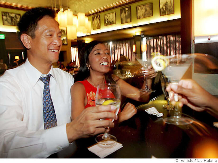 BARBITES12_024_LH_.JPG Stuart Hing and his wife Rhoda Hing of Pleasant Hill tasting a Little Dutch Mill martini at Bing Crosby's Lounge and Piano Bar. Liz Hafalia/The Chronicle/Walnut Creek/7/5/07  **Stuart Hing, Rhoda Hing cq Photo: Liz Hafalia