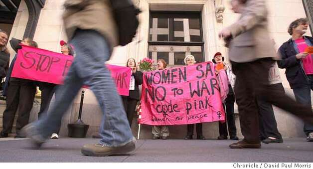 SAN FRANCISCO - FEBRUARY 23: Members of Code Pink protest Hillary Clinton's luncheon February 23, 2007 at the Palace Hotel in San Francisco, California. They were protesting Clinton's war funding and were demanding her to stop. (Photo by David Paul Morris/The Chronicle) Photo: David Paul Morris