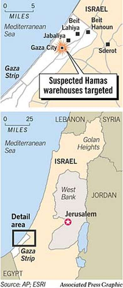 Suspected Hamas Warehouses Targeted. Associated Press Graphic