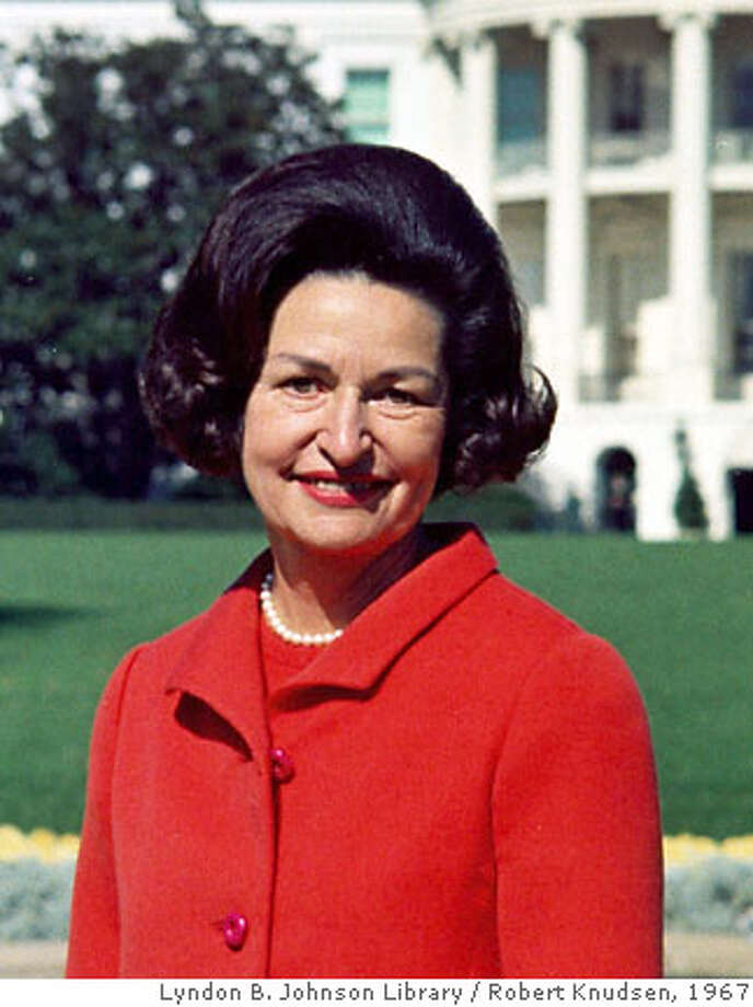 Lady Bird Johnson, wife of the late U.S. President Lyndon B. Johnson, is pictured at the White House in this October 20, 1967 file photograph. Johnson, who is 94, is in a hospital in Austin, Texas, for medical tests for an undisclosed condition, a spokeswoman said on June 22, 2007. REUTERS/Robert Knudsen/Lyndon B. Johnson Library/Handout. EDITORIAL USE ONLY. NOT FOR SALE FOR MARKETING OR ADVERTISING CAMPAIGNS. NO ARCHIVES. NO SALES. Photo: HO