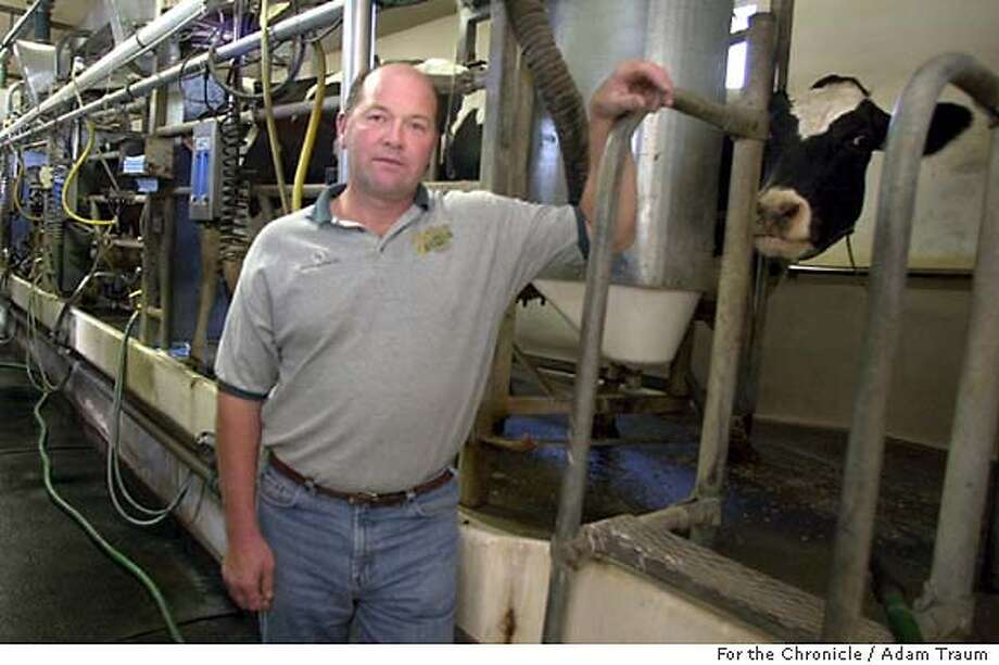 California dairy farmers have begun an historic program to reduce the size of their herds in order to raise the producer price of milk. But store prices for milk remain high. Dennis Leonardi, a Fernadale, California, farmer says his two-generation farm is in danger of being bankrupted by the commodity price of milk. Photo by Adam Traum Photo: Adam Traum