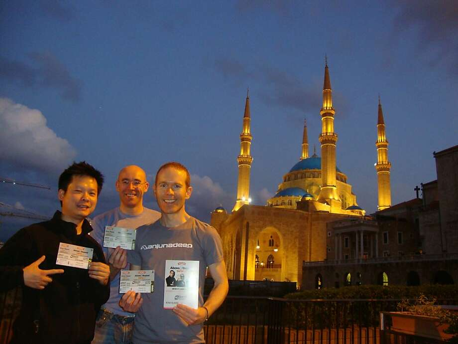 George Hwee, James Russell and Jason Bennett of San Francisco in front of Mohammad Al-Amin Mosque in downtown Beirut. Photo: Courtesy Jason Bennett