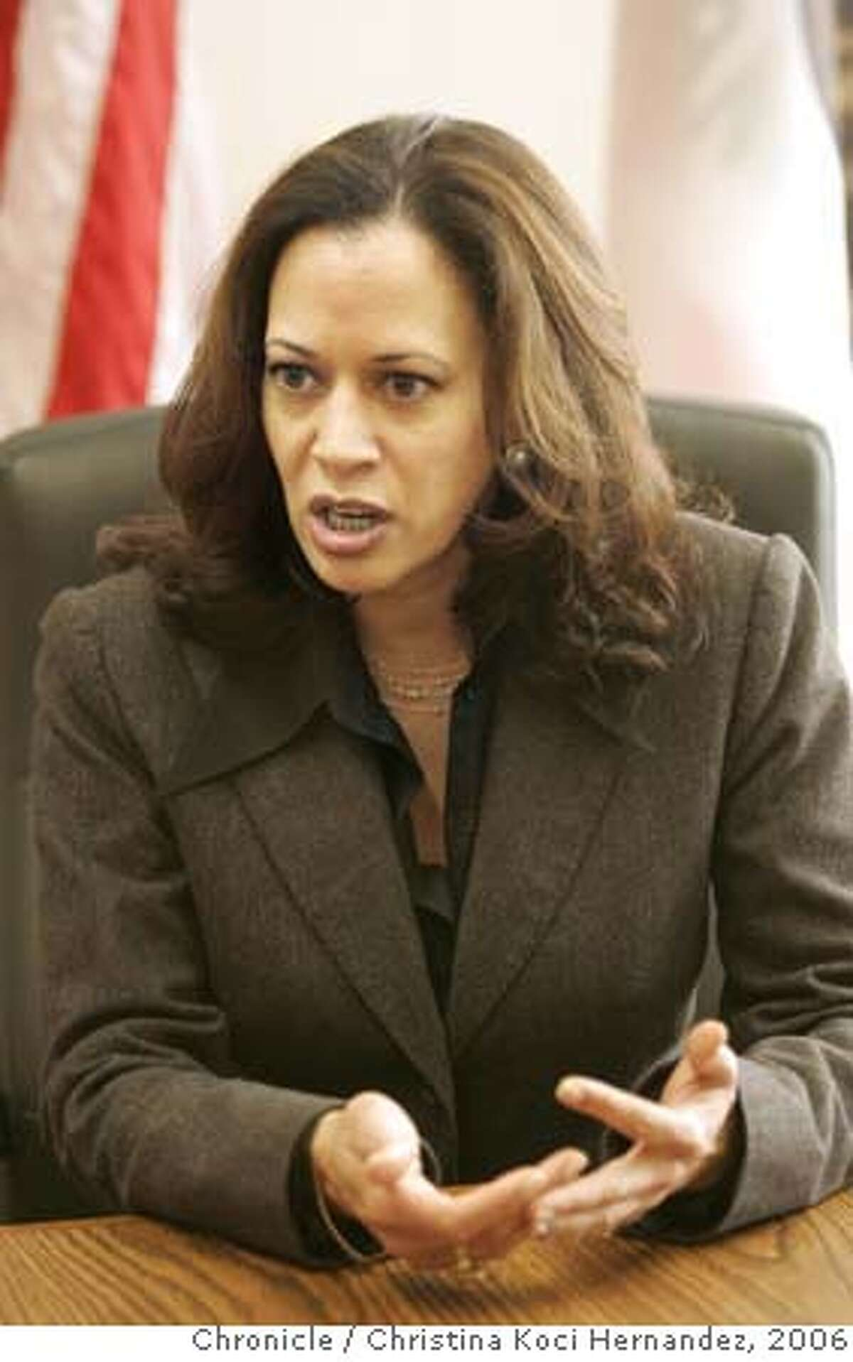 CHRISTINA KOCI HERNANDEZ/CHRONICLE We're doing a two year anniversary story on SF District Attorney Kamala Harris.Ran on: 03-20-2006 Kamala Harris is praised for professionalism, criticized for her handling of homicide cases.Ran on: 03-20-2006 Kamala Harris is praised for professionalism, criticized for her handling of homicide cases.Ran on: 03-20-2006 Ran on: 05-08-2006 District Attorney Kamala Harris has expanded the number of investigators assigned to protect witnesses after a 22-year-old man was shot to death in San Francisco. Ran on: 09-01-2006 Kamala Harris, San Franciscos district attorney, says she is working to build trust in affected communities. ALSO Ran on: 01-17-2007 Kamala Harris, San Franciscos district attorney, has not said when charges might be filed.