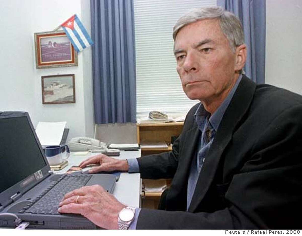 Philip Agee, a former CIA spy who exposed its undercover operations in Latin America in a 1975 book, sits in an office in Havana in this file photo from February 24, 2000. Agee, 72, died in Havana on Monday, the Cuban Communist Party newspaper Granma said on Wednesday. Agee resigned in 1968 in disagreement with U.S. support for military dictatorships in Latin America and became one of the first to blow the whistle on the CIA's activities around the world. Picture taken February 24, 2000. REUTERS/Rafael Perez/Files (CUBA)