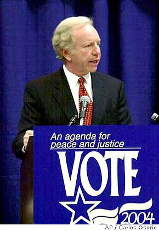 Democratic presidential hopeful U.S. Sen. Joseph Lieberman of Connecticut, addresses the Arab American Institute National Leadership Conference in Dearborn, Mich., Friday, Oct. 17, 2003. Six of the Democratic presidential candidates were expected to speak in person or by satellite at the conference with two more expected Saturday. (AP Photo/Carlos Osorio) Photo: CARLOS OSORIO
