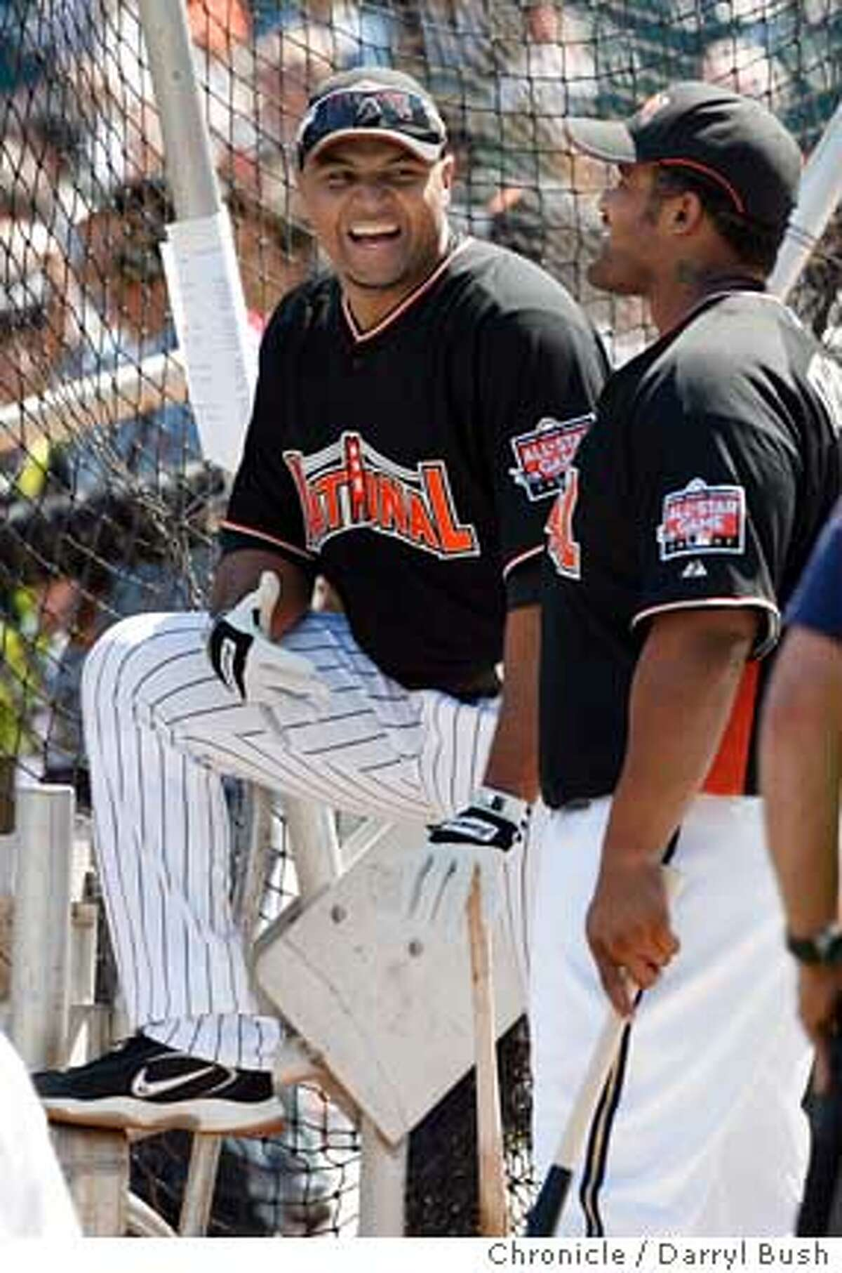 allstar_homerun_0003_db.JPG National League's Carlos Lee and Prince Fielder, right, share a laugh during National League Team's batting practice in preparation for Tuesday's All-Star Game, before the Home Run Derby at AT&T Park in San Francisco, CA, on Monday, July, 9, 2007. photo taken: 7/9/07 Darryl Bush / The Chronicle ** (cq) Ran on: 07-10-2007 NL manager Tony La Russa and AL manager Jim Leyland dont seem to be worried about being competitive. Ran on: 07-10-2007 NL manager Tony La Russa and AL manager Jim Leyland dont seem to be worried about being competitive.