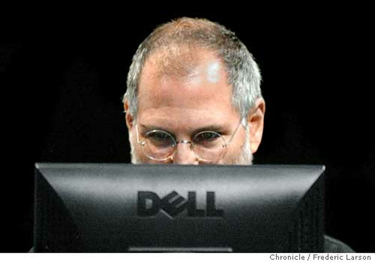 ; What's wrong with this picture. Apple Computer Steve Jobs on a PC (Dell). Steve was part of hosting an event in SF that is unveiled iTunes Music Store for Windows. The company's Mac version of the downloadable music store caused a sensation in the music industry in April, and the company has sold more than 10 million songs. Apple bills Thursday's presentation as