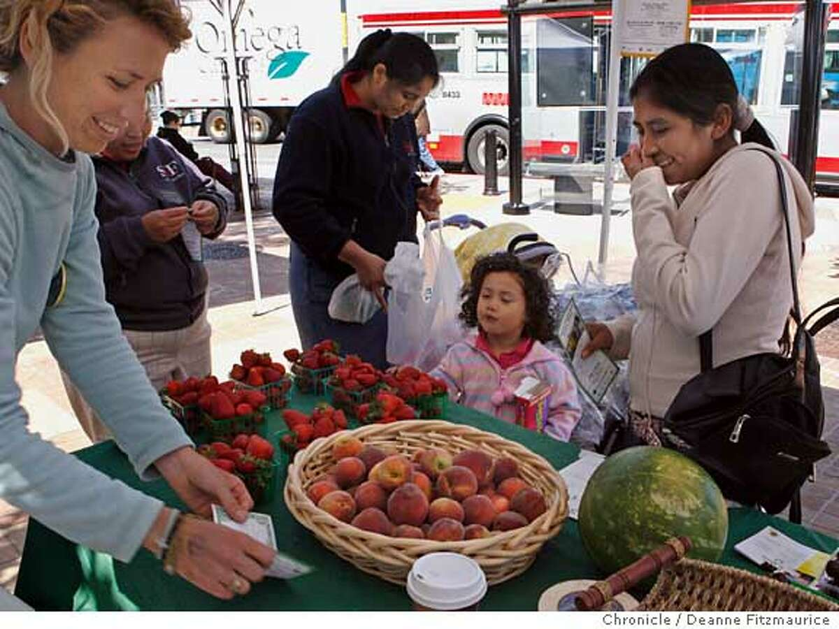 farmbill_bayview_0005_df.jpg At left, Kristina Feldman (cq) sells produce. The Bayview-Hunter's Point Farmers' Market is a small market along third Street. Photographed in San Francisco on 6/27/07. Deanne Fitzmaurice / The Chronicle Mandatory credit for photographer and San Francisco Chronicle. No Sales/Magazines out.