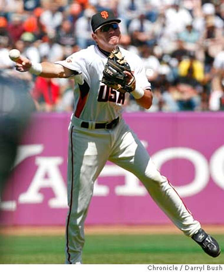 U.S. Team's Brian Bocock (Giants) makes a fielding play and throws out World Team's Craig Stansberry in the 6th inning, U.S. Team vs. World Team in the All-Star Futures Game at AT&T Park in San Francisco, CA, on Sunday, July, 8, 2007. photo taken: 7/8/07  Darryl Bush / The Chronicle ** (cq) Photo: Darryl Bush