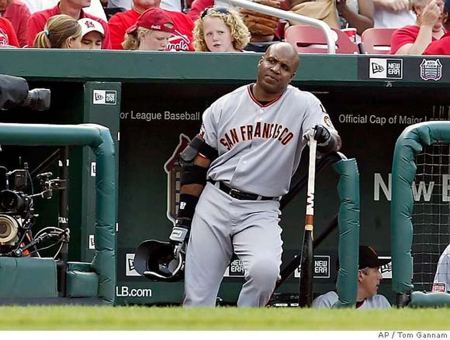 San Francisco Giants Barry Bonds awaits his turn at bat in the first inning against the St. Louis Cardinals in their baseball game Saturday, July 7, 2007, in St. Louis.(AP Photo/Tom Gannam) Photo: Tom Gannam