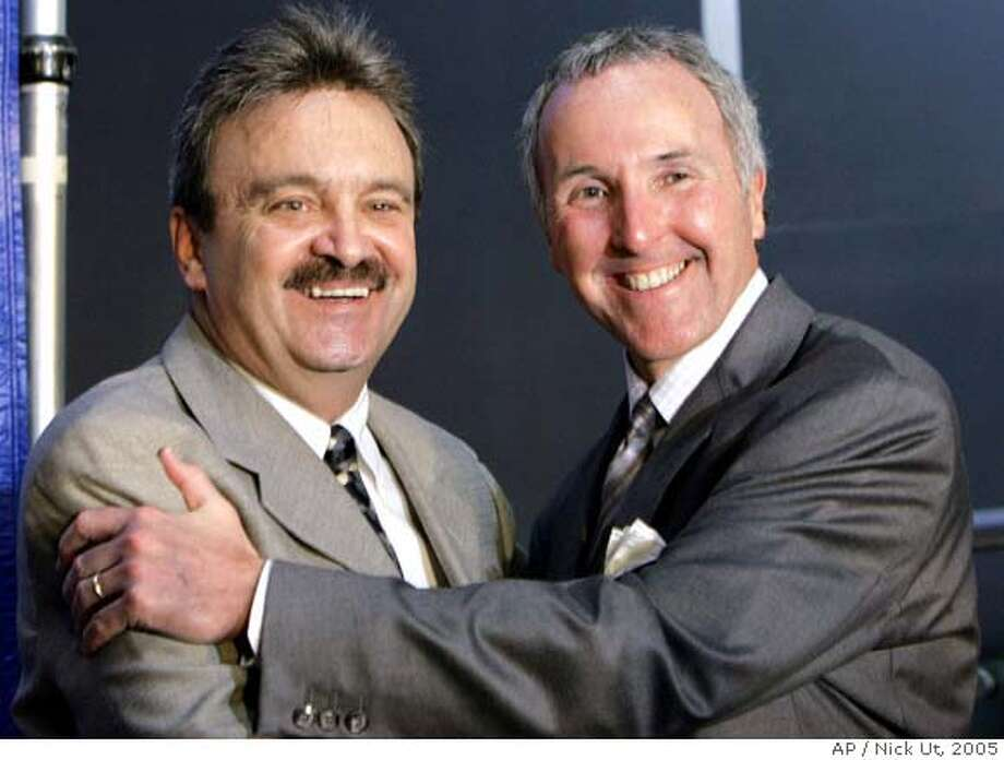 Los Angeles Dodgers' new General Manager Ned Colletti, left, is photographed with owner Frank McCourt during a news conference at Dodgers Stadium Wednesday, Nov. 16, 2005 in Los Angeles. Colletti was an assistant General Manager with the rival San Francisco Giants for the past nine years. (AP Photo/Nick Ut) Ran on: 11-19-2005  Duke Snider (above, right) joining manager Al Dark with the Giants in 1964 was a bigger deal than Ned Colletti moving to L.A.Ran on: 04-13-2006  Ned CollettiRan on: 04-13-2006  Dodgers general manager Ned Colletti (left) hopes to provide dividends for owner Frank McCourt before the season is over.Ran on: 04-13-2006  Ned CollettiRan on: 04-13-2006  Dodgers general manager Ned Colletti (left) hopes to provide dividends for owner Frank McCourt before the season is over.Ran on: 04-13-2006  Dodgers general manager Ned Colletti (left) hopes to provide dividends for owner Frank McCourt before the season is over. Photo: NICK UT