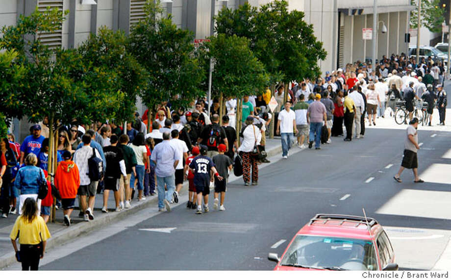 The All-Star Fanfest event was so popular Sunday afternoon that the line stretched from Moscone Center all the way around and down Minna Street to 5th, a distance fans waited in after they had already purchased their tickets earlier.  {Brant Ward/San Francisco Chronicle}7/8/07 Photo: Brant Ward