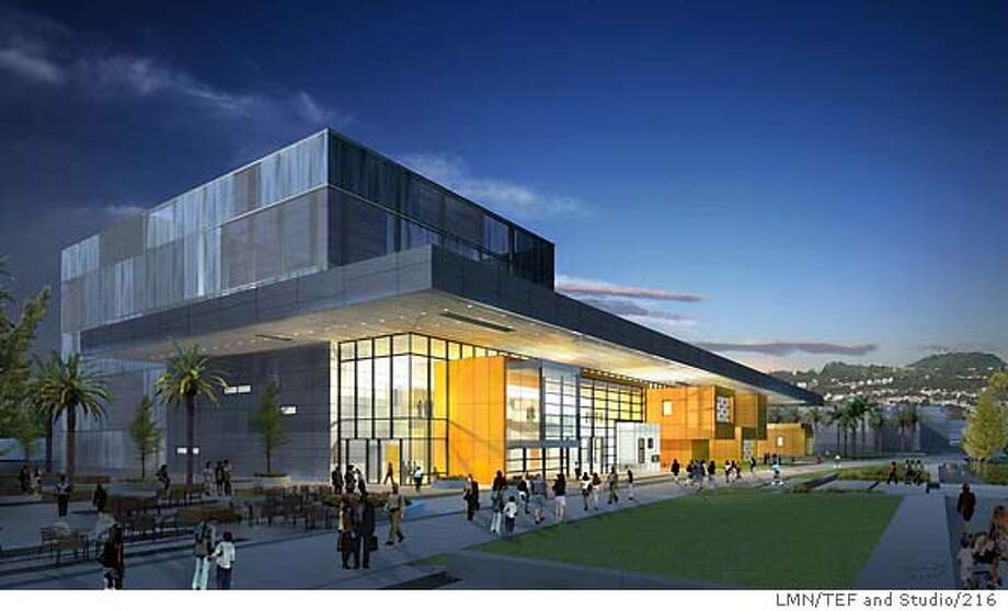 City College of San Francisco is expected to break ground in a few months on this $200 million performing arts center. It's main component is a 650-seat theater. This is a night-time view from Phelan Avenue. Photo: LMN/TEF And Studio/216 CQ