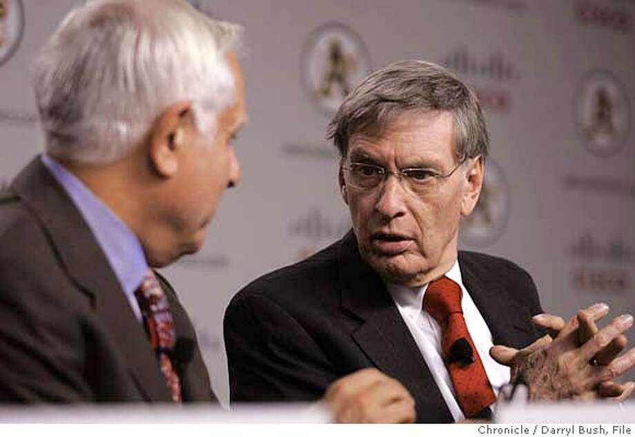 athletics14_014_db.JPG  Major League Baseball Commissioner, Allan H. (Bud) Selig, right, talks with Athletics Co-owner and Managing partner, Lew Wolf, left, as they begin a news conference to announce plans to move the Athletics to Fremont and unveil the new Cisco Field logo for the team, at an Oakland Athletics press conference at Cisco Systems in (cq) in San Jose, CA, on Tuesday, November, 14, 2006. 11/14/06  Darryl Bush / The Chronicle ** Lew Wolf, John Chambers, Allan H. (Bud) Selig, Michael Crowley (cq) (cq) Ran on: 11-15-2006  Bud Selig spoke up for Lew Wolff at a news conference Tuesday, saying the A's &quo;did what they had to do. They had no alternative.&quo;  Ran on: 11-15-2006  Bud Selig endorsed Lew Wolff at a news conference Tuesday, saying the A's &quo;did what they had to do. They had no alternative.&quo;  Ran on: 11-15-2006 Ran on: 11-15-2006 MANDATORY CREDIT FOR PHOTOG AND SF CHRONICLE/NO SALES-MAGS OUT Photo: Darryl Bush