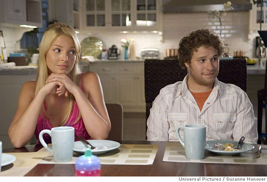 Alison Scott (KATHERINE HEIGL) and Ben Stone (SETH ROGEN) in Knocked Up, a comedy about the best thing that will ever ruin your best-laid plans: parenthood. Universal Pictures / Suzanne Hanover Ran on: 06-01-2007  Alison (Katherine Heigl) and Ben (Seth Rogen) are left with a lasting memento of their one-night stand.  Ran on: 07-05-2007  The comedy &quo;Knocked Up&quo; stars &quo;Grey's Anatomy's&quo; Katherine Heigl as Alison, a woman who gets pregnant after a one-night stand with Ben (Seth Rogen).  Ran on: 07-08-2007  Katherine Heigl in &quo;Knocked Up&quo;: She keeps her clothes on. Photo: Universal Pictures
