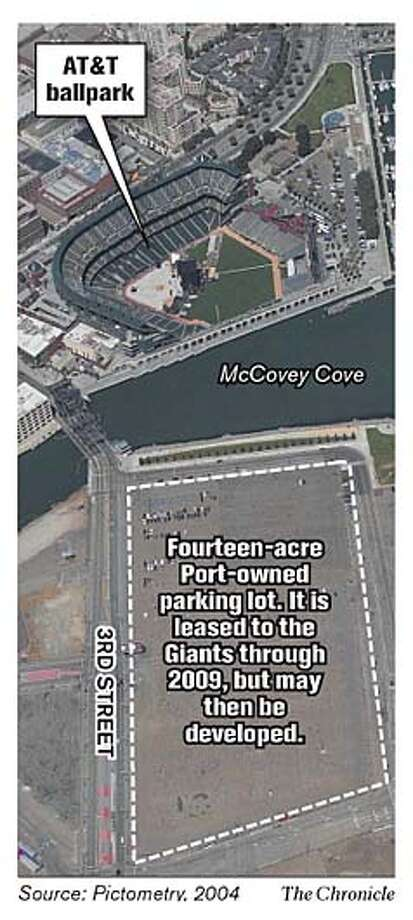 14-acre port-owned parking lot. Chronicle Graphic