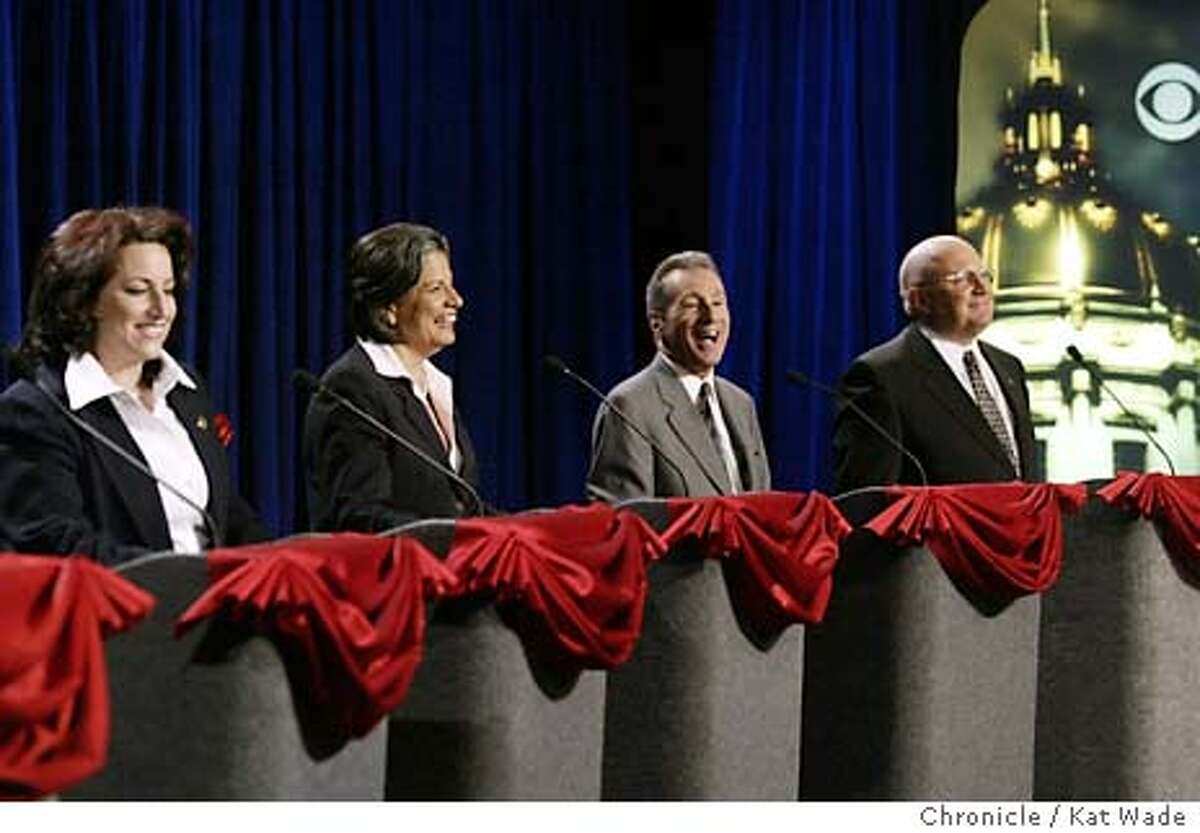 """DEBATE_297_KW.jpg Mayoral candidates (L TO R) Angela Aliotta, Susan Leal, Tom Amiano and Tony Ribera (PLEASE CHECK THE SPELLING OF THE CANDIDATES NAMES) laugh when Tom Amiano made a joke after hewas mistakenly called Tom """"Aliotta"""" by moderator Dana King during a live debate hosted by KPIX, KCBS, The San Francisco CHronicle. The San Francisco Chamber of Commerce and The San Francisco Labor Council at the KPIX Studios on 10/14/03 in San Francisco. Kat Wade / The Chronicle"""