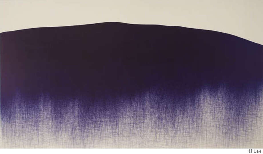Il Lee, BL-060, 2005. Ballpoint pen on canvas, 84 x 144 inches. Private Collection, New York. Ran on: 07-07-2007  &quo;BL-060&quo; (2005), by Il Lee, looks like a mountain landscape, a subject deeply rooted in the Asian arts. The work is part of an exhibition that ends Sunday at the San Jose Museum of Art. Photo: Il Lee
