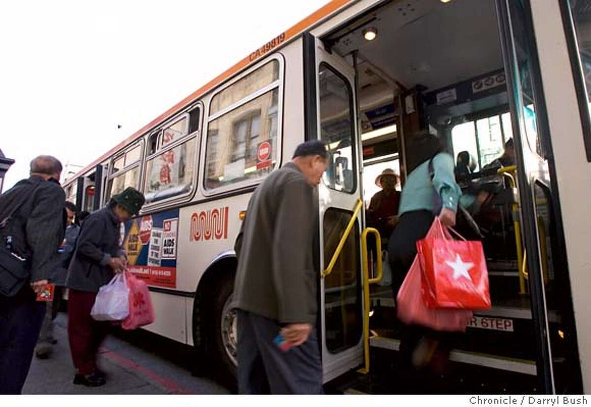 muni_0005_db.JPG Muni buses run South on Stockton Street in Chinatown near Jackson St. in San Francisco, CA, on Saturday, June, 30, 2007. photo taken: 6/30/07 Darryl Bush / The Chronicle ** (cq) MANDATORY CREDIT FOR PHOTOG AND SF CHRONICLE/NO SALES-MAGS OUT