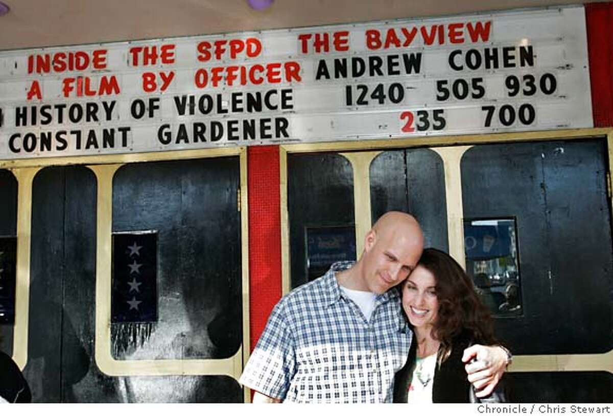 video050214.jpg Event on 1/4/06 in San Francisco. SFPD Officer Andrew Cohen (L) and his fiance� Wendy Hurley pose for photos outside the Four Star Theater following the premiere of Cohen�s video epic