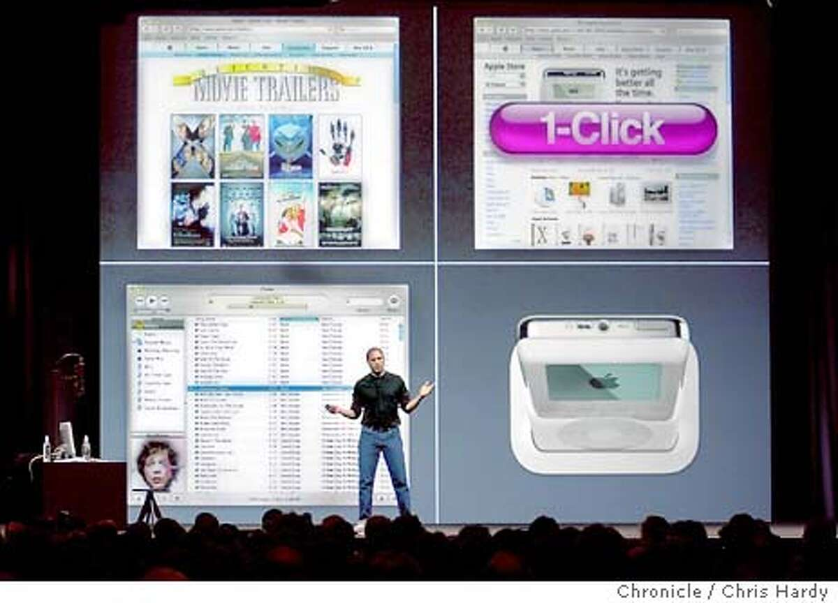 APPLE026_CH.jpg STEVE JOBS INTRODUCES A NEW IPOD AND NEW ITUNES AND MUSIC STORE 4/28/03 in San Francisco. CHRIS HARDY / The Chronicle MANDATORY CREDIT FOR PHOTOG AND SF CHRONICLE/ -MAGS OUT