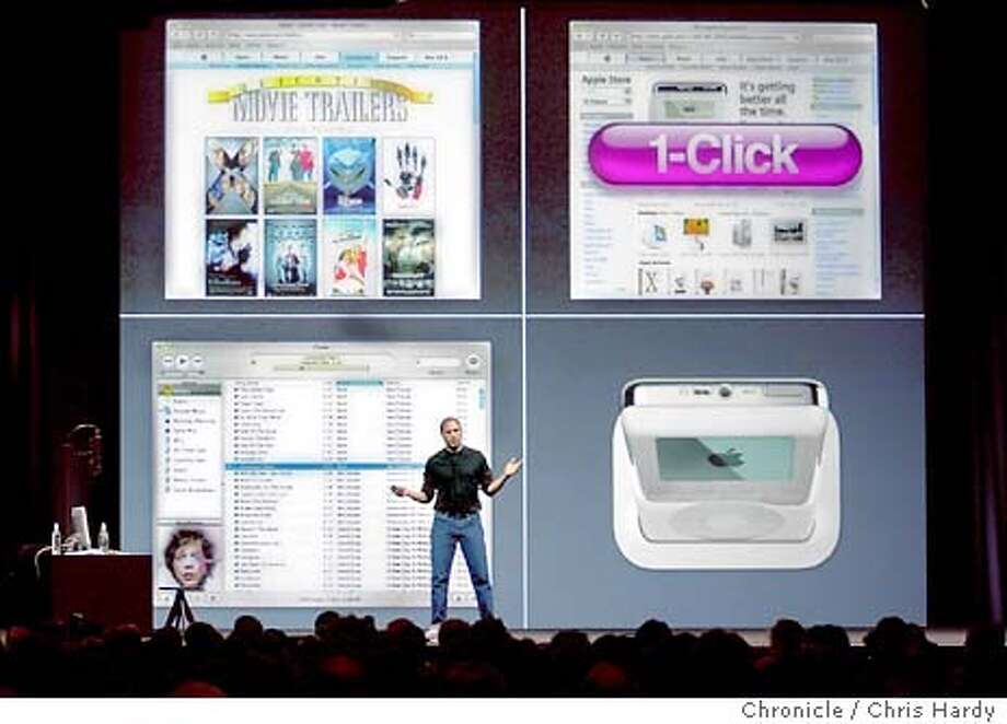 APPLE026_CH.jpg  STEVE JOBS INTRODUCES A NEW IPOD AND NEW ITUNES AND MUSIC STORE  4/28/03 in San Francisco. CHRIS HARDY / The Chronicle MANDATORY CREDIT FOR PHOTOG AND SF CHRONICLE/ -MAGS OUT Photo: CHRIS HARDY