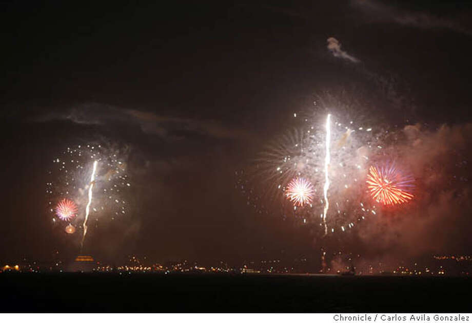 FIREWORKS_004_CAG.JPG  Fourth of July fireworks light up the San Francisco skyline as seen across San Francisco Bay from Treasure Island. The fireworks show, ignited near Aquatic Park in San Francisco, Ca., lasted about 30 minutes on Wednesday, July 4, 2007. Photo by Carlos Avila Gonzalez/The Chronicle  Photo taken on 7/4/07, in Treasure Island, Ca, USA.  **All names cq (source)  Ran on: 07-06-2007  Fireworks shooting up near Aquatic Park light up the San Francisco skyline as seen across the bay from Treasure Island.  Ran on: 07-06-2007 Ran on: 07-06-2007 Ran on: 07-06-2007 Photo: Carlos Avila Gonzalez