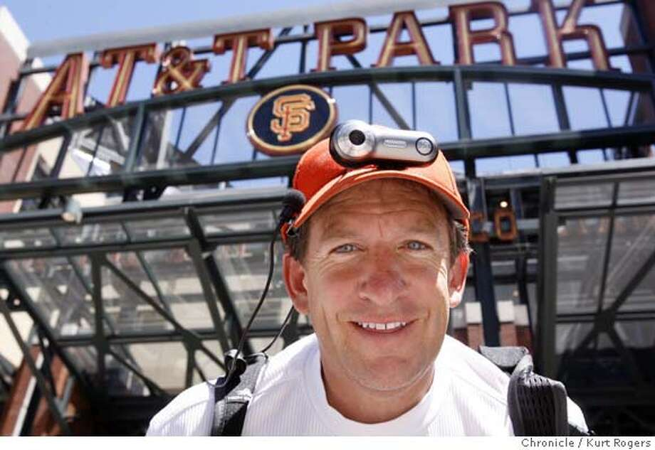 Dr. Doug Yarris who is wearing all the gear that will enable him to transmit his game experience back to JUSTIN TV.When he covers the 2007 ALL Star Game . Out front of AT&T Park.  TUESDAY, JULY 3, 2007 KURT ROGERS SAN FRANCISCO SFC  THE CHRONICLE ALLSTARXX_0061_kr.jpg MANDATORY CREDIT FOR PHOTOG AND SF CHRONICLE / NO SALES-MAGS OUT Photo: KURT ROGERS