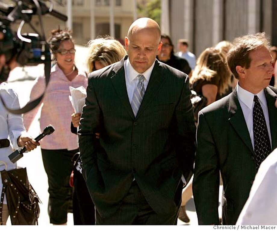 Troy Ellerman, (center), leaves Federal Court with his attorney Scott Tedman following the judge's rejection of his plea agreement. The sentencing hearing for Troy Ellerman, the attorney who leaked the Grand Jury Investigation into the BALCO case. The judge in the case,firmly rejected the plea agreement today in Federal Court. (cq) Scott Tedman Troy Ellerman Photographed in, San Francisco, Ca, on 6/14/07. Photo by: Michael Macor/ The Chronicle Photo: Michael Macor