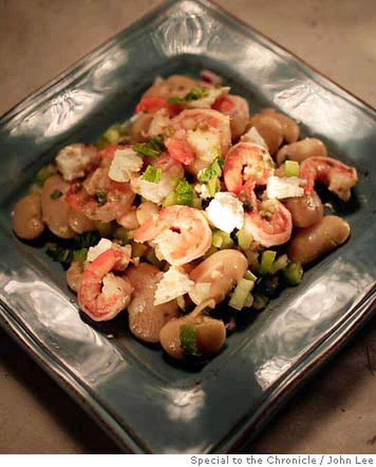 PAIRINGS06_01_JOHNLEE.JPG  Gigande bean and shrimp salad.  By JOHN LEE/SPECIAL TO THE CHRONICLE Photo: JOHN LEE