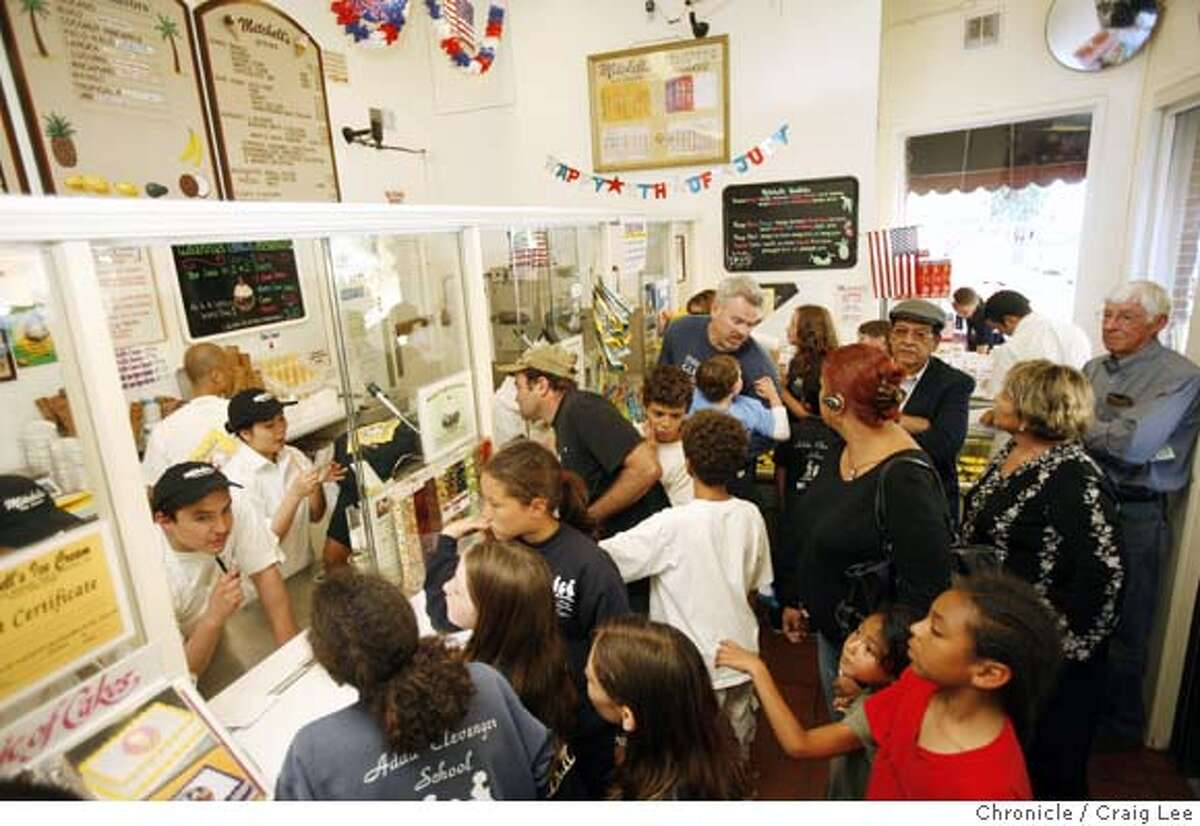 ICECREAM04_places_076_cl.JPG Mitchell's Ice Cream shop at 688 San Jose Avenue. Photo of the crowd at the order window. Event on 6/28/07 in San Francisco. photo by Craig Lee / The Chronicle Ran on: 07-04-2007 They all scream for ice cream: A crowd lines up at Mitchells Ice Cream in San Francisco.
