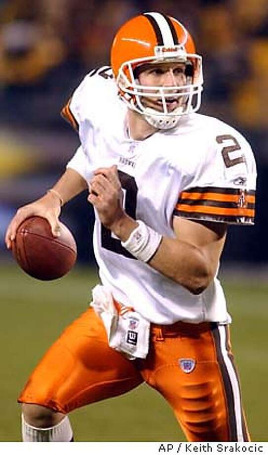 Cleveland Browns quarterback Tim Couch rolls out against the Pittsburgh Steelers in the third quarter Sunday, Oct. 5, 2003, in Pittsburgh. The Browns won 33-13. (AP Photo/Keith Srakocic) Photo: KEITH SRAKOCIC