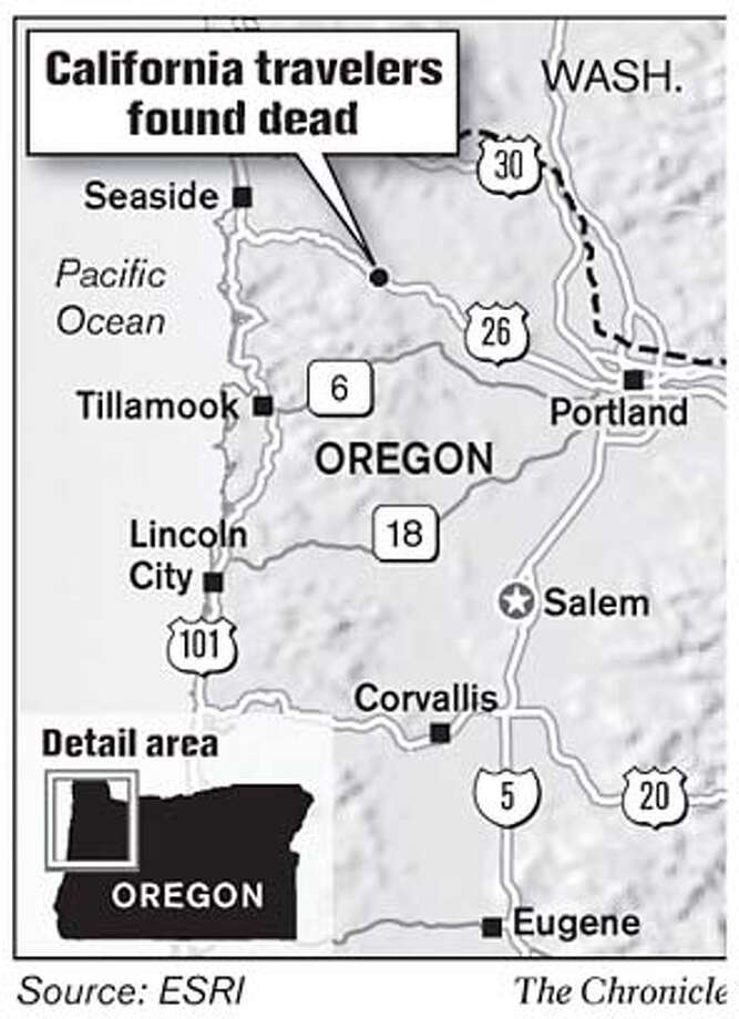 California Travelers Found Dead. Chronicle Graphic