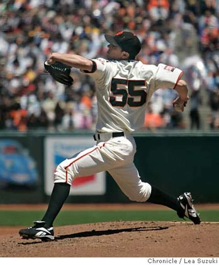 giants_0051_ls.JPG  Tim Lincecum pitches in the second inning against the Diamondbacks. The Giants won 13-0. San Francisco GIANTS Vs. Arizona Diamondbacks at AT&T Park. Photo taken on 070107 in San Francisco, CA.  Photo by Lea Suzuki/ The Chronicle  ()cq Photo: Lea Suzuki