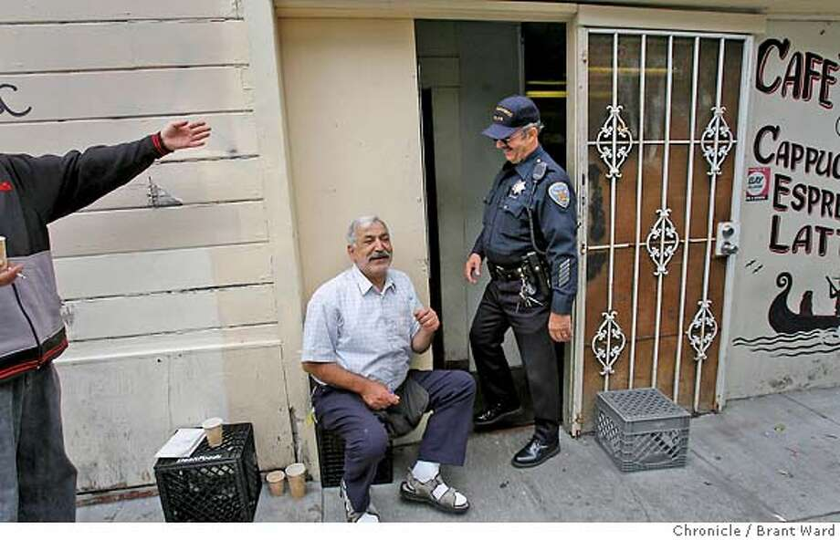 badge_marco_096.JPG  SFPD officer Marco Desangles stops to talk with some friends outside Cafe Venice in the Mission district. He has been visiting the cafe for years for coffee.  Marco Desangles is the oldest working cop on the beat in the Mission district. He just celebrated his 71st birthday and still enjoys going to work every day. He works both as a patrol officer and as a station supervisor filling in for sergeants when they are gone.  {Brant Ward/San Francisco Chronicle}6/16/07 Photo: Brant Ward