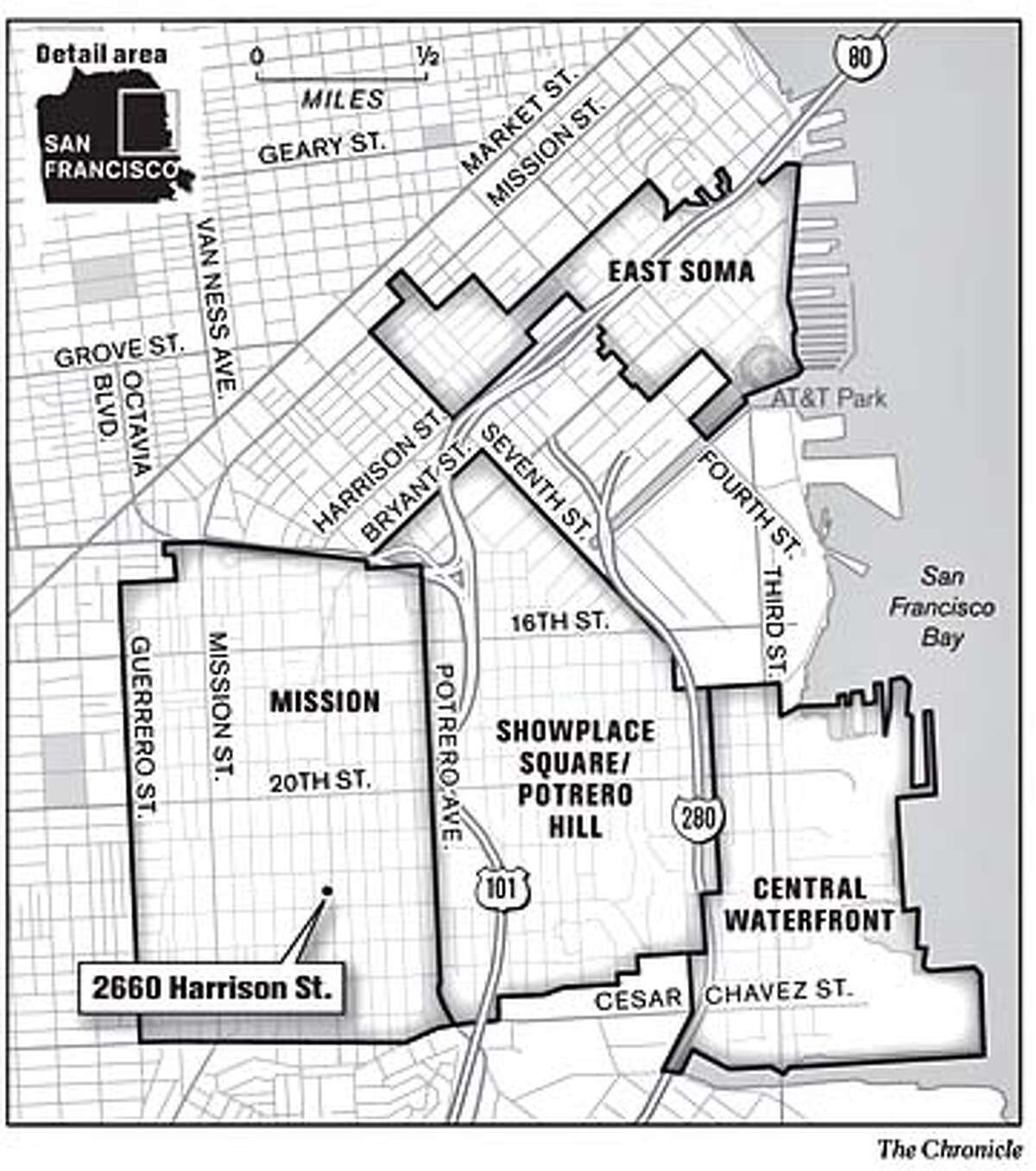 San Francisco's east side. Chronicle Graphic
