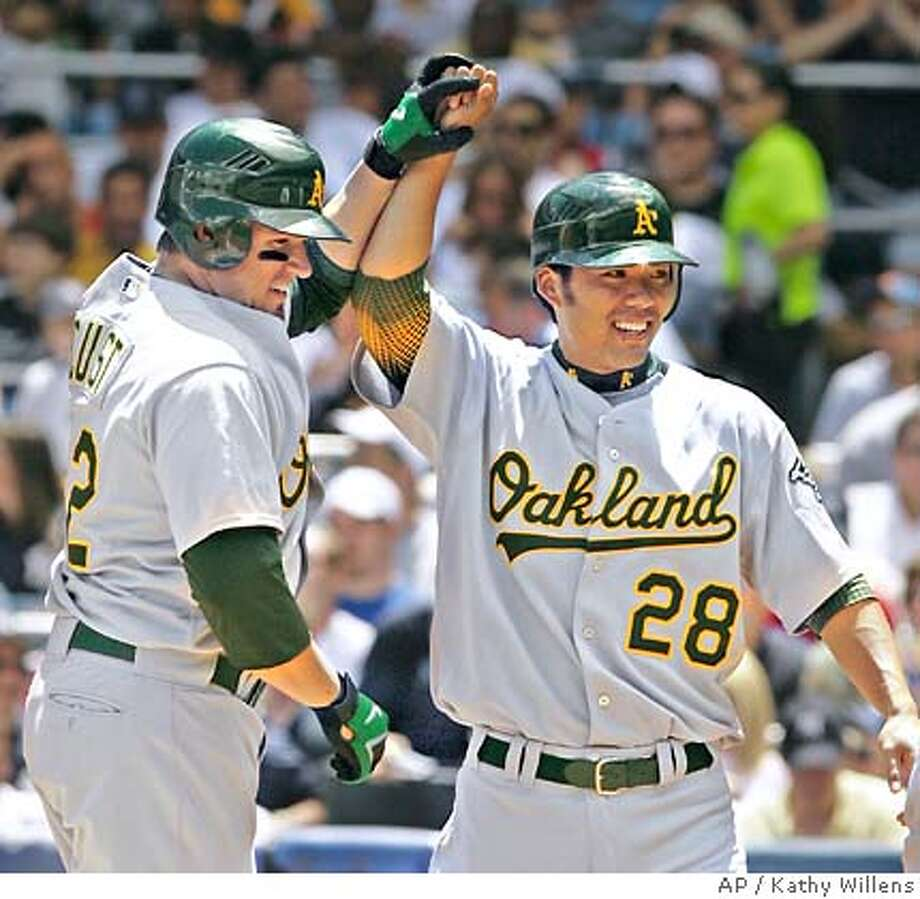 Oakland Athletics' Jack Cust, left, celebrates with teammate Kurt Suzuki after hitting a second-inning, three-run home run off New York Yankees pitcher Andy Pettitte in their baseball game at Yankee Stadium in New York, Sunday, July 1, 2007. (AP Photo/Kathy Willens) Photo: Kathy Willens