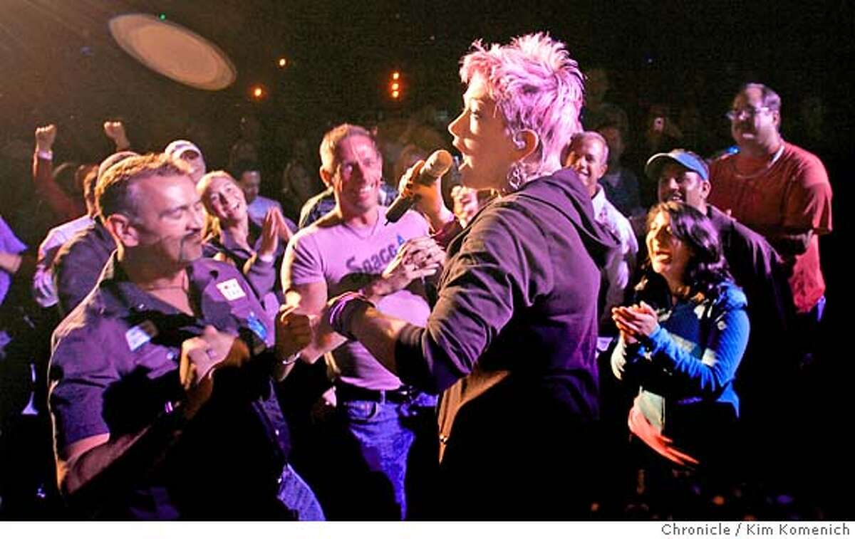 TRUE02_303_KK.JPG Cyndi Lauper steps in to the audience as the True Colors tour stops at the Greek Theater in Berkeley. True Colors pairs some of the biggest stars of the '80s with younger bands they've inspired. Photo by Kim Komenich/The Chronicle MANDATORY CREDIT FOR PHOTOG AND SAN FRANCISCO CHRONICLE. NO SALES- MAGS OUT.